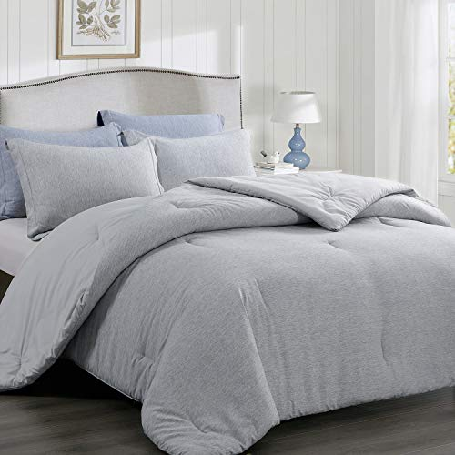 BEDELITE Twin Comforter Set (1 Comforter 68x88 in, 1 Pillow sham 20x26 in-2pieces), Light Grey Twin Bedding Comforter Set, Cationic Dyeing Striola Pattern Reversible, Practical Comforter All-Season