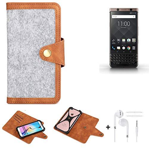 K-S-Trade® Handy-Hülle + Kopfhörer Für -BlackBerry KEYone Bronze Edition- Schutz-Hülle Filz-Hülle Kunst-Leder Hellgrau Braun (1x)