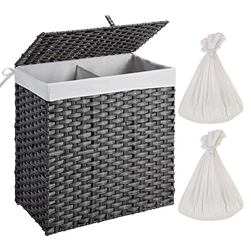 Greenstell Laundry Hamper with 2 Removable Liner Bags, Divided Synthetic Rattan Handwoven Laundry Basket with Lid and Handles, Foldable and Easy to Install Gray