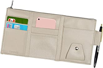 Vankcp Car Sun Visor Organizer, Auto Interior Accessories Sunglass Pen CD Card Small Document Storage Pouch Holder, PU Leather, Multi-Pocket with Zipper Net (Gray)
