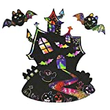 kungfu Mall Halloween Scratch Art Pictures Bat Castle Design con bolígrafo, Manualidades y...