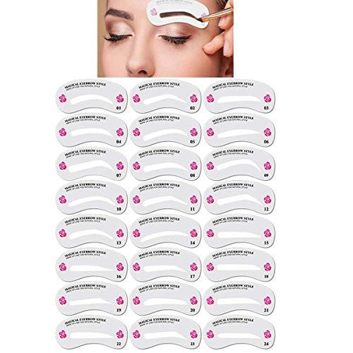 pochoir sourcils, 24 PCS différents styles pochoir sourcils,pochoir sourcils reutilisable,sourcils pochoirs,sourcils maquillage,outil sourcil,outil de mise en forme des sourcils pour le maquillage