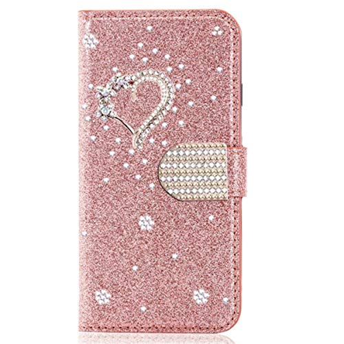 Blllue Wallet Case Compatible with Huawei Mate 10 Pro, Glitter Bling Diamond Love Heart Pu Leather Flip Phone Cover for Mate 10 Pro - Rosegold