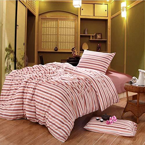 Teyun. Bett Bettwäsche No Printed Cotton Dreiteilige Einfache Bettdecke Nehmen to Home (Color : Pink, Size : 150CM)
