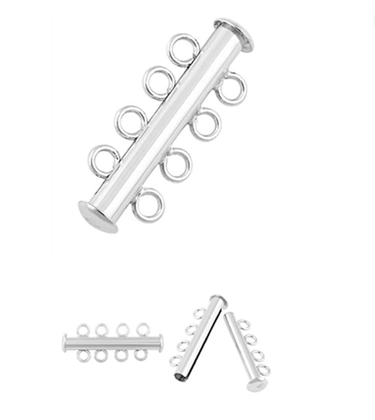 2pcs Sterling Silver 4 Strands Slide Clasp Lock Tube Connector 25mm for Jewelry Craft Making Findings SS188