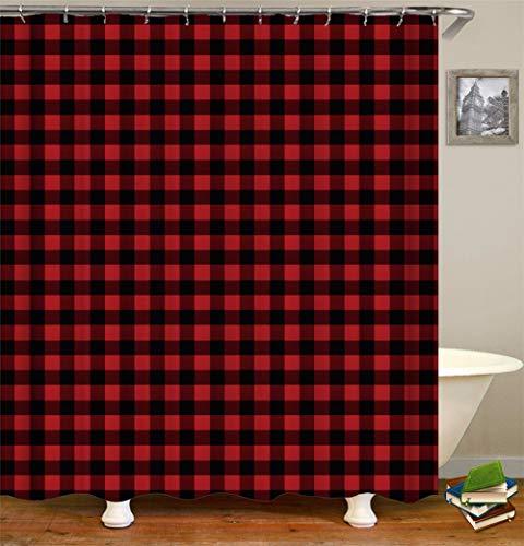 SLN Rote Und Schwarze Quadrate. Duschvorhang. 180 X 180 cm. 12 C-Förmige Haken. Einfach Zu Säubern. Wasserdicht. Nicht Verblassen. Haus Dekoration.