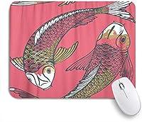 EILANNAマウスパッド 鯉魚鯉と愛の友情と繁栄の水彩画のシンボル ゲーミング オフィス最適 高級感 おしゃれ 防水 耐久性が良い 滑り止めゴム底 ゲーミングなど適用 用ノートブックコンピュータマウスマット
