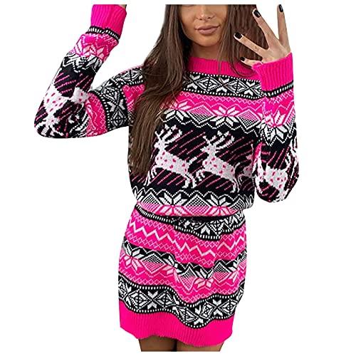 SumLeiter Weihnachten pullikleid Damen Rundhals strickkleider elegant A-Linie Sweater Herbstkleid mode Jumper Sweatshirt Kleid Winter...