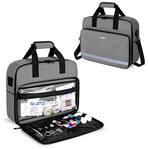 CURMIO Medical Equipment Bag with Padded Laptop Sleeve and 2 Detachable Transparent Compartment, Portable Nursing Supplies Bag for Nurses, Family Community Health Care Professionals,Gray