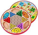 Zyyqt Dame, Holz Puzzle Brettspiele, Checkers/Flying Chess Combo (Size : 28.5 * 28.5 * 1.8cm)