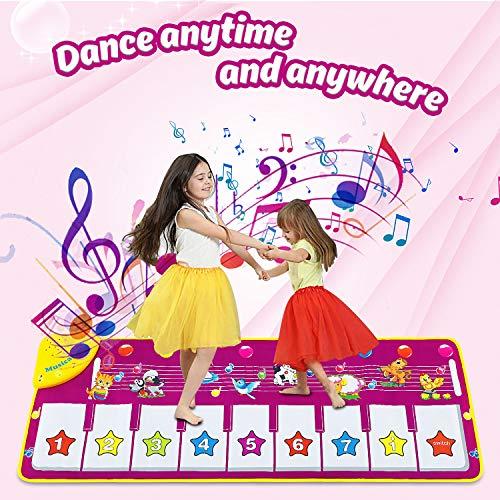 DOOKEY Alfombra Musical, Alfombra para Piano, Alfombra Musical de Teclado para Niños con Teclado de 19 Teclas, Juego Musical Portátil para Niños Niñas, Regalo de Cumpleaño Navidad (100 x 36 cm)