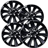 OxGord 16 inch Hubcaps Best for 11-16 Toyota Corolla - Set of 4 Wheel Covers 16in Hub Caps Ice Black Rim Cover - Car Accessories for 16 inch Wheels - Snap On Hubcap, Auto Tire Replacement Exterior Cap
