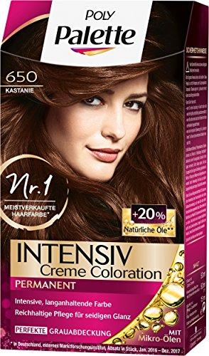 Poly Palette Intensiv Creme Coloration, 650 Kastanie Stufe 3, 3er Pack (3 x 115 ml)