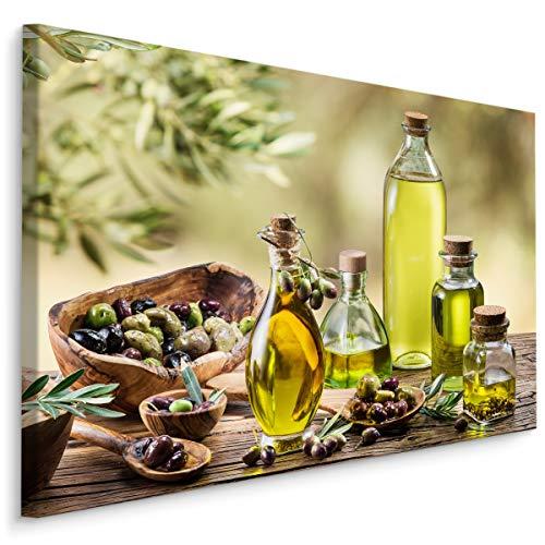 Muralo Leinwandbilder 40x30 Essen Gemüse Oliven Leinwand Wandbild Kunstdruck Olivenöl Blätter Flaschen Glas Schlafzimmer Wohnzimmer Wanddekoration Design XXL 767 Br. 40 cm x Hö. 30 cm