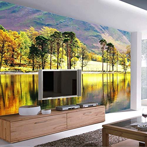 Forest River Foto Tapete 3D Bäume Tapete Benutzerdefinierte Natur Wandbild Schlafzimmer TV Hintergrund Hintergrund Kunst Zimmer Dekor Tapete, 400cm×280cm