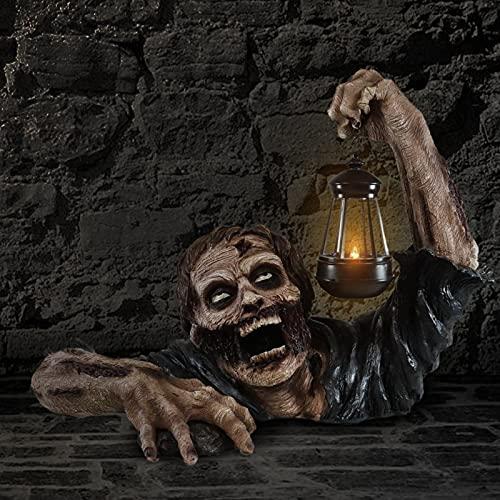 Zombies with Lamp Garden Statue Sculpture Halloween Crawling Zombie Halloween Zombie Garden Statue...
