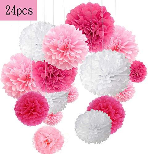 24er Rosa Deko Seidenpapier Pompons für Hochzeit, Taufe Mädchen, Geburtstag, Party,Kommunion,Valentinstag Muttertag JGA Deko weiß rosa