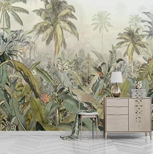 3D vliesbehang fotobehang abstract handgeschilderd tropisch regenwoud-banaanblad-wandschilderij-herderwoonkamer-restaurant-achtergrond decor 430*300 430 x 300.
