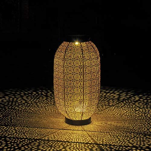 Gadgy Solar Laterne Aussen Blume Groß | LED Solarlaterne für Außen | Terassendeko Für Draußen | IP65-Wasserdicht | Orientalische Gartendeko | Hängende oder Tischleuchte