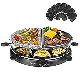 Raclette Grill per 8 Persone, Set Raclette con 8 Mini Padelle di Cottura e 4 Spatole, Superficie Smontabile 2-In-1, 1500W
