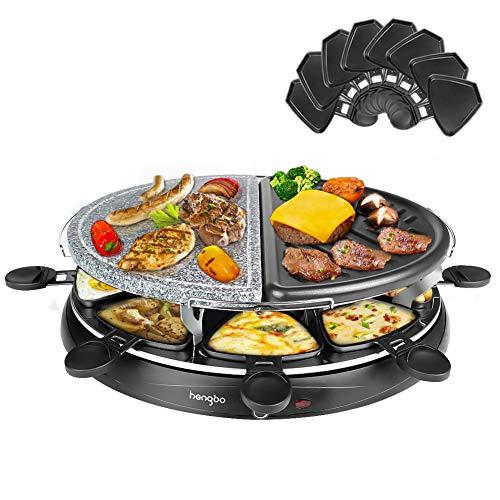 Raclette 8 Personen Naturstein mit Heißem Stein Zum Grillen und Überbacken, 8 Pfännchen, Antihaftbeschichtet, Schwarz