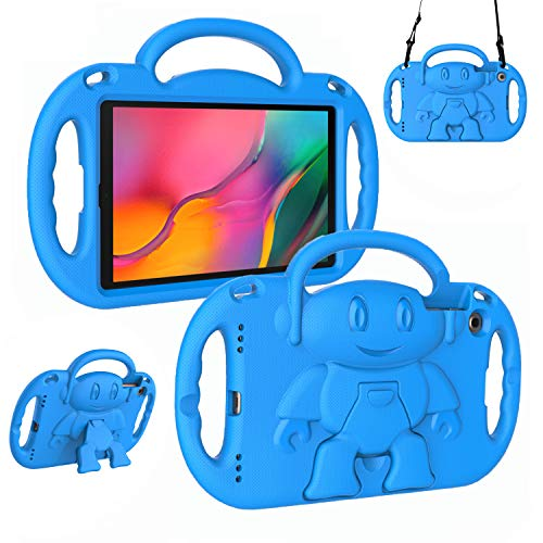 LTROP Kids Case for Samsung Galaxy Tab A 10.1 (2019 Released) Model SM-T510/T515, Light Weight Shockproof Shoulder Strap Handle Stand Kids-Friendly Cover Case for Galaxy Tab A 10.1' Tablet , Blue