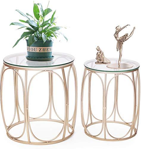 Adeco Classic Nesting Side Table Set (2 Pcs), Gold