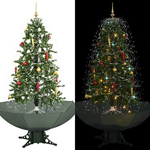 vidaXL Schneiender Weihnachtsbaum mit Schirmfuß Schneefall Kugeln LED-Lampen Tannenbaum Christbaum Kunstbaum Dekobaum Schnee Grün 170cm
