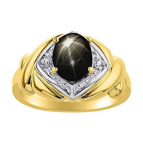 Juego de anillos de zafiro de estrella negra y diamante en plata chapada en oro amarillo – XO Hugs & Kisses – Anillo de piedra de nacimiento de color