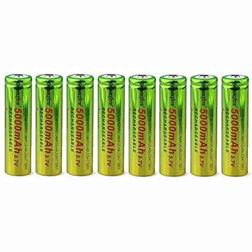 18650 Pilas Recargables 3,7 V 5000 Mah de Iones de Litio de Alta Capacidad Baterías, 1500 Ciclos de Larga Duración con Botón Superior Pilas para Linterna, 8pcs