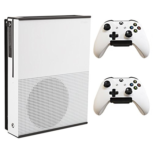 HIDEit Mounts X1S Black Bundle, Xbox One S Wall Mount and Two Controller Wall Mounts, Safely Store Your Xbox One S and Xbox Controllers Near or Behind TV