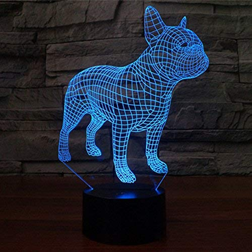 3D French Bulldog Dog Night Light Touch Switch 7 Color Change LED Table Desk Lamp Acrylic Flat ABS Base USB Charger Home Decoration Toy Brithday Xmas Kid Children Gift
