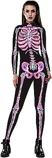 aihihe Women Halloween Costumes Skinny Catsuit Jumpsuit Scary Skulls Skeleton Printed Onesie for Adult Cosplay