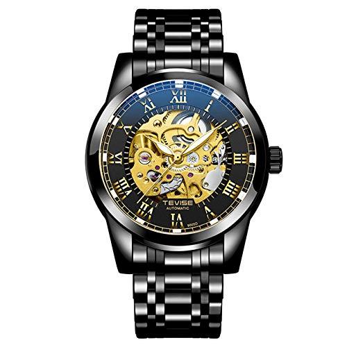 QZPM Hombre Automático Mecánico Relojes Roman Number Acero Inoxidable Bracelet Multifunción Luminoso Impermeable Militar Cronógrafo Negocio Relojes,Negro