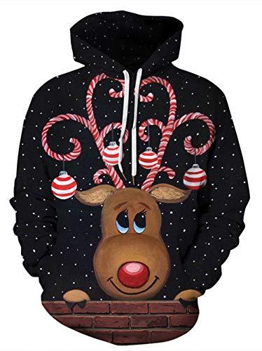 HUASON Unisex Felpa con Cappuccio Stampa 3D Renne di Natale e Pupazzo di Neve, Pullover Natalizio novità Felpe Primavera e Autunno per Uomo e Donna(XL)