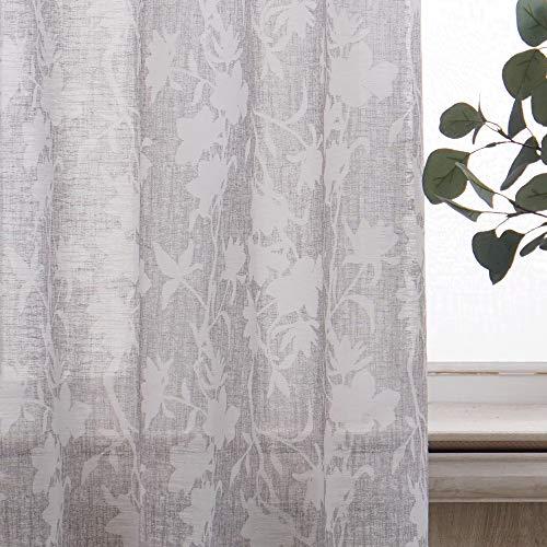 Viste tu hogar Pack 2 Cortina Visillo, Decorativa Translucida con Ojales, Estilo Simple y Elegante, para Salón, Habitación y Dormitorio, 4 Piezas, 140X260 CM, Estampado con Color Gris