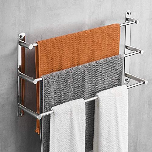 Lolypot Toallero multicapa de acero inoxidable 304, toallero de pared, estante de pared de 40 cm, soporte de pared para toallas de baño, 3 barras, para baño y cocina