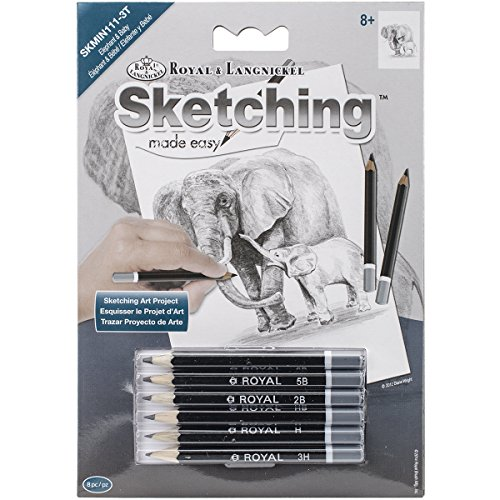 ROYAL BRUSH Sketching Made Easy Elephant & Baby Mini Kit, 5' by 7'