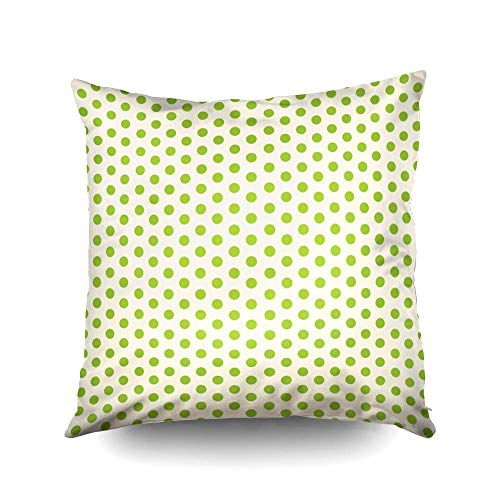 N\A Throw Pillow Cases, Throw Square Decorative Pillow Cover,Cushion Covers Green Polka dots Paper Both Sides Printing Invisible Zipper Home Sofa Decor Pillowcase