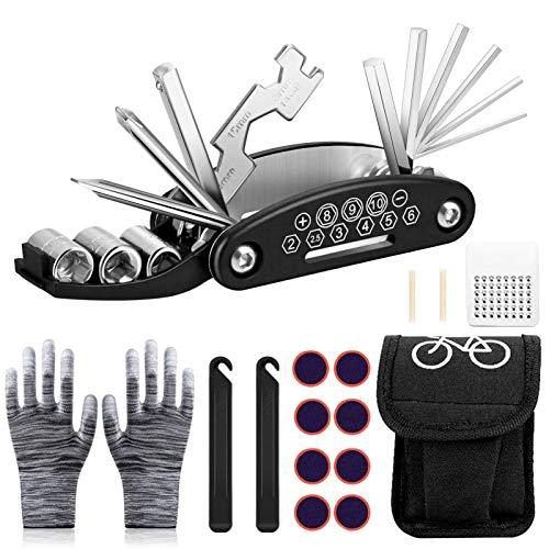 Sunshine smile Fahrrad-Multitool Multifunktionswerkzeug,Fahrradwerkzeug Tool,Fahrrad Reparatur Set,Fahrrad Werkzeug Mit Tasche,Fahrradwerkzeug Für Unterwegs,Bike Repair Kit