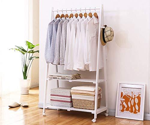 Lfixhssf Houten kledingrek Hanger Landing Storage Rack met 2 planken voor de slaapkamer woonkamer ingang 79,5 × 45 × 154cm Lfixhssf wit