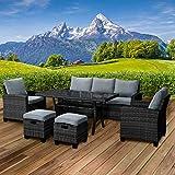 BRAST Poly-Rattan Sitzgarnitur Gartenmöbel Essgruppe Lounge Sitzgruppe Delight 7 Personen Schwarz/Grau