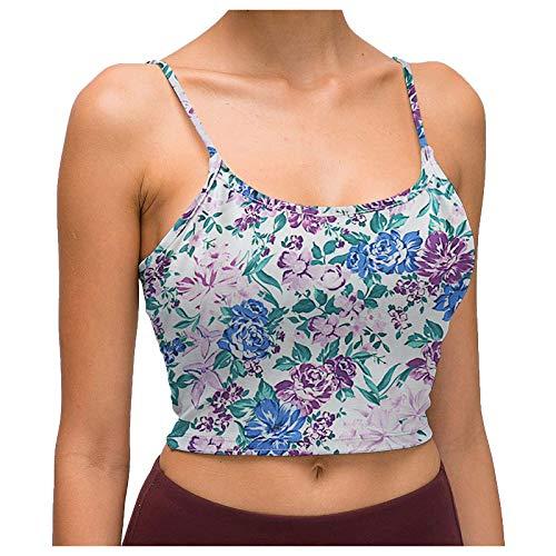 Y2K - Camiseta de tirantes para mujer con estampado floral, camiseta básica, camiseta de espaguetis, camiseta sexy para mujer, estilo camisola, informal, ajustada L-lila. XL