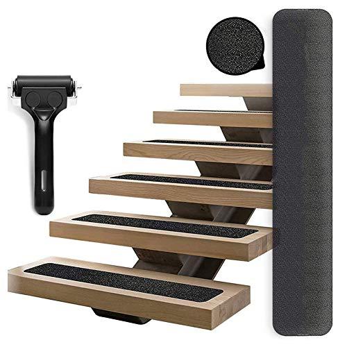 Wuudi 15 strisce antiscivolo per scale, antiscivolo e antiscivolo, con rullo di installazione per scale, per interni ed esterni (15 x 80 cm)
