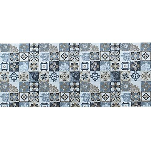 IlGruppone Tappeto passatoia Fantasia Maiolica Nera Antiscivolo Lavabile Varie Misure - Maiolica Nera - 50x300 cm