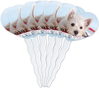 GRAPHICS & MORE West Highland Terrier Westie Puppy Dog Beach Towel Heart Love Cupcake Picks Toppers Decoration Set of 6