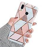 Ysimee Compatible avec Coque Huawei P20 Lite/Nova 3e,Étui Géométrique Marbre Design Housse en Silicone Souple Coque Hybrid Flexible Case Anti-Scratch Bumper Cover pour Huawei P20 Lite/Nova 3e,Marbre-1