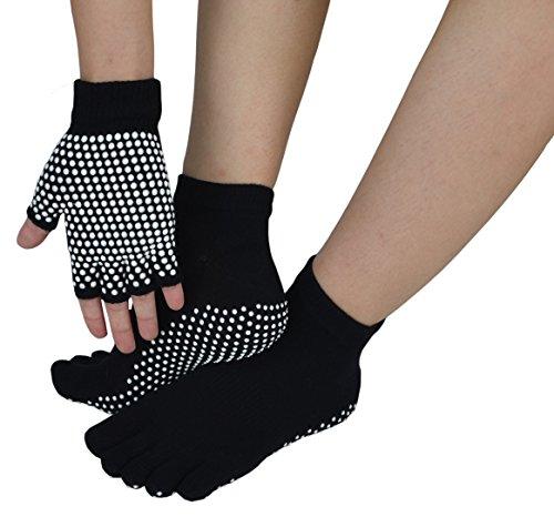 Sin Dedos Guantes de Ejercicio Antideslizante Yoga Pilates Calcetines con Puntos de Silicona, Gloves+socks5