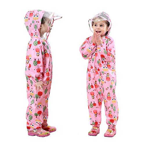 Baogaier Impermeables para Niñas Chubasqueros Chaquetas Capa de Lluvia Encapuchado Mono de Bolsillo Rosado Floral Reflectante Abrigos Impermeables Niños 3-5 años - Rosa