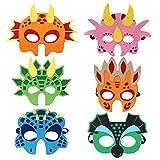 6 Felt Dinosaur Masks Face Mask Dinosaur Party Favors Decorations Masquerade Halloween Perfect for Children Girls Boys Kids (6 New Style)